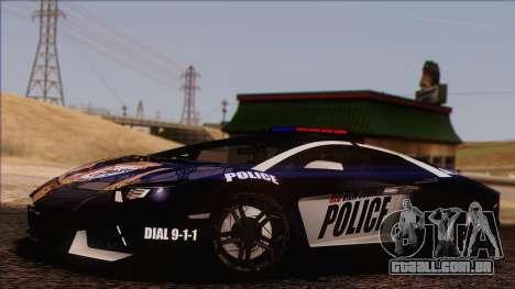 Lamborghini Aventador LP 700-4 Police para GTA San Andreas vista inferior