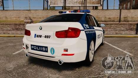 BMW F30 328i Finnish Police [ELS] para GTA 4 traseira esquerda vista