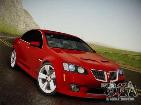 Pontiac G8 GXP 2009 para GTA San Andreas traseira esquerda vista