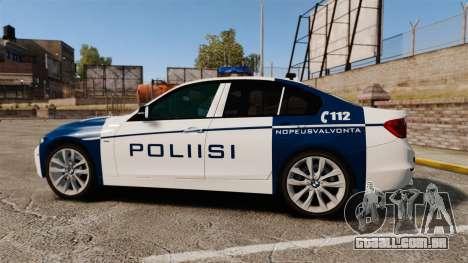 BMW F30 328i Finnish Police [ELS] para GTA 4 esquerda vista