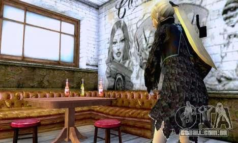 A menina loira com roupas pretas para GTA San Andreas por diante tela