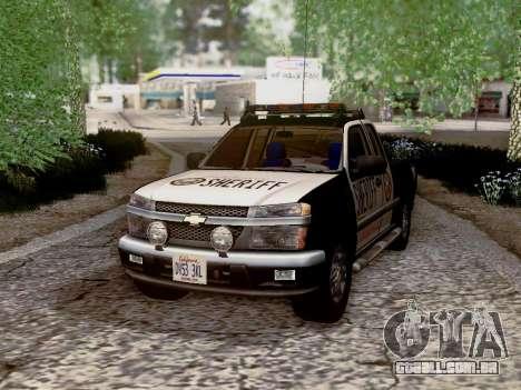 Chevrolet Colorado Sheriff para GTA San Andreas vista inferior