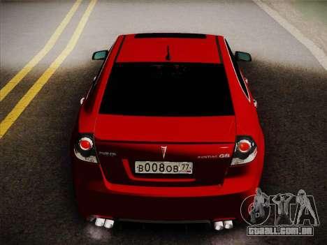Pontiac G8 GXP 2009 para GTA San Andreas vista direita