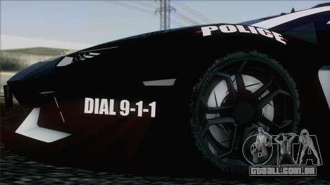 Lamborghini Aventador LP 700-4 Police para GTA San Andreas interior