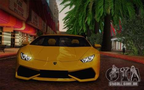Lamborghini Huracan 2013 para GTA San Andreas traseira esquerda vista
