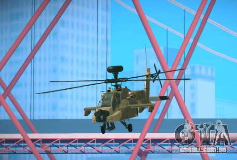 AH-64 Longbow Apache para GTA San Andreas traseira esquerda vista