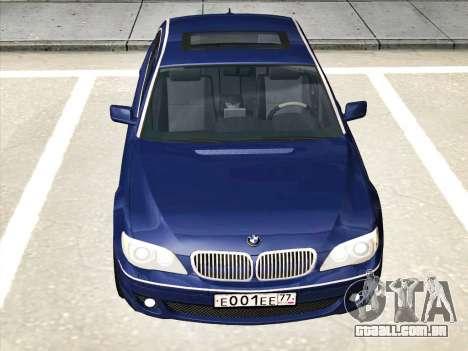 BMW 760Li para GTA San Andreas traseira esquerda vista