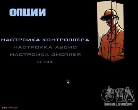 O menu da versão móvel do jogo para GTA San Andreas terceira tela