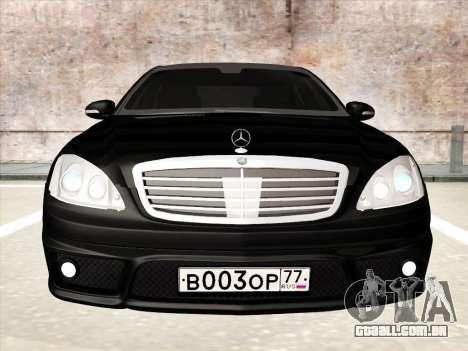 Mercedes-Benz S65 AMG para GTA San Andreas vista interior