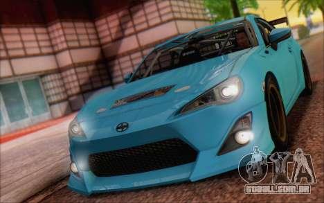 Scion FR-S 2013 Beam para GTA San Andreas traseira esquerda vista