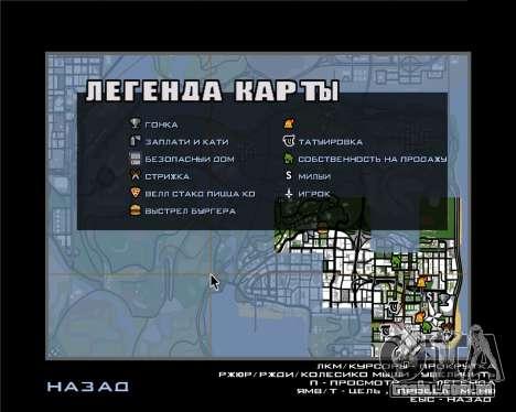 Ícones de radar da versão móvel do jogo para GTA San Andreas segunda tela