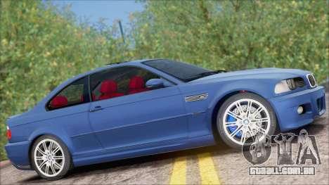 BMW M3 E46 2002 para GTA San Andreas traseira esquerda vista