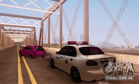Daewoo Lanos Police para GTA San Andreas traseira esquerda vista