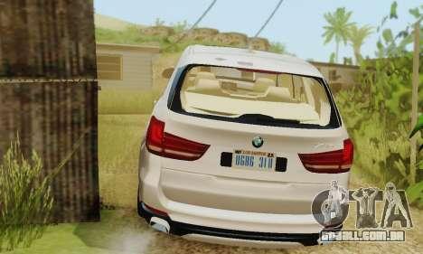 BMW X5 (F15) 2014 para GTA San Andreas vista traseira
