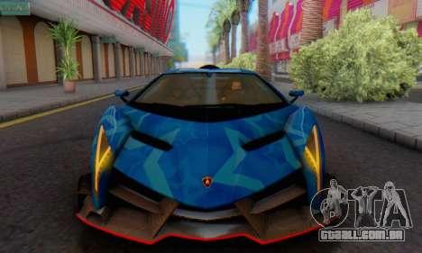 Lamborghini LP750-4 2013 Veneno Blue Star para GTA San Andreas traseira esquerda vista