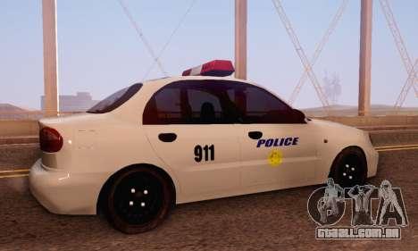 Daewoo Lanos Police para GTA San Andreas vista direita