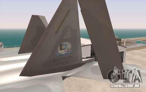 F-22 Raptor para GTA San Andreas traseira esquerda vista