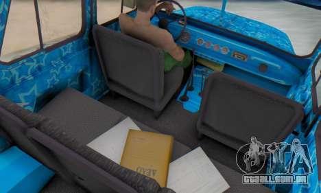 UAZ 469 Blue Star para GTA San Andreas vista interior