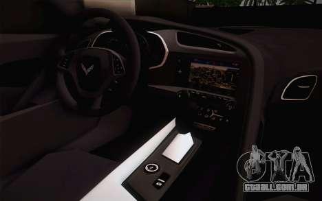 Chevrolet Corvette Stingray C7 2014 para GTA San Andreas vista traseira