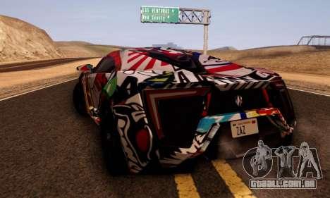 W-Motors Lykan Hypersport 2013 Stiker Editions para GTA San Andreas traseira esquerda vista
