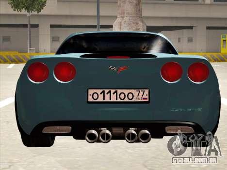 Chevrolet Corvette Grand Sport para GTA San Andreas vista traseira