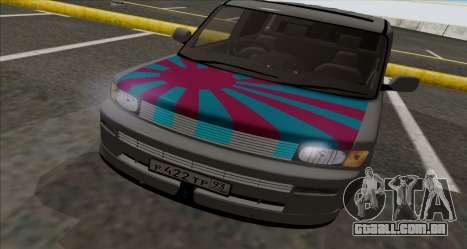 Toyota BB para GTA San Andreas traseira esquerda vista