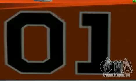 Dodge Charger General lee para GTA San Andreas vista traseira