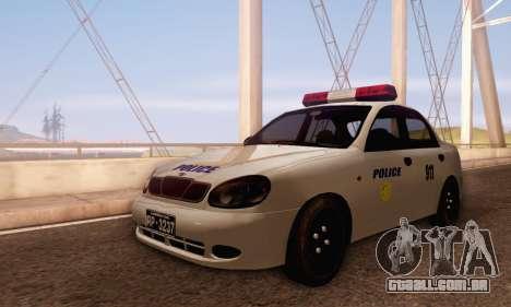 Daewoo Lanos Police para GTA San Andreas esquerda vista