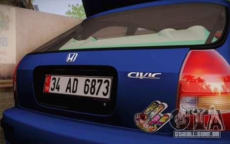 Honda Civic 1.4 BS Garage para GTA San Andreas traseira esquerda vista