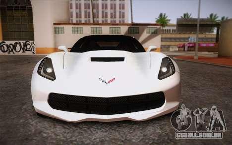 Chevrolet Corvette Stingray C7 2014 para vista lateral GTA San Andreas