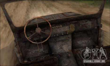 Queimado UAZ 469 para GTA San Andreas vista direita
