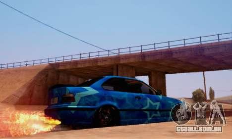 BMW M3 E36 Coupe Blue Star para GTA San Andreas traseira esquerda vista