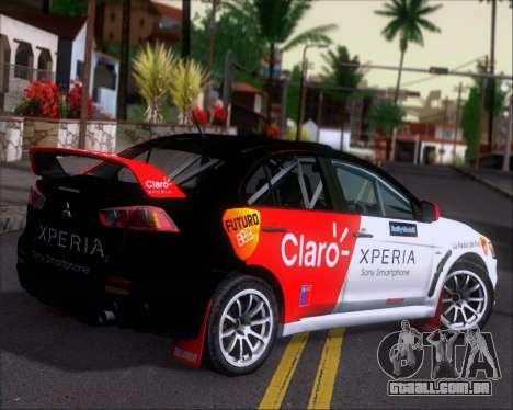 Mitsubushi Lancer Evolution Rally Team Claro para GTA San Andreas vista direita