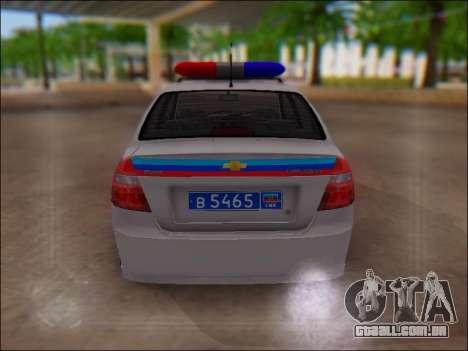 Chevrolet Aveo Polícia LNR para GTA San Andreas vista interior