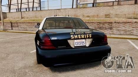 Ford Crown Victoria Sheriff [ELS] Slicktop para GTA 4 traseira esquerda vista
