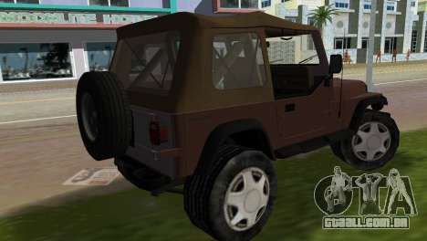 Jeep Wrangler para GTA Vice City deixou vista