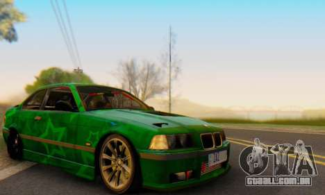 BMW M3 E36 Coupe Blue Star para GTA San Andreas vista interior