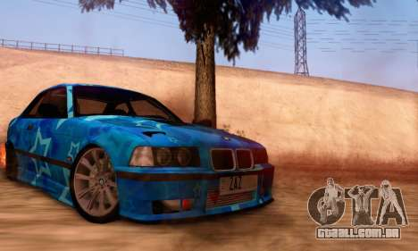 BMW M3 E36 Coupe Blue Star para GTA San Andreas vista direita