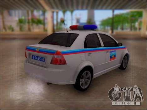 Chevrolet Aveo Polícia LNR para GTA San Andreas vista direita