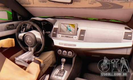 Mitsubishi Lancer Evolution X Metalhead para GTA San Andreas vista direita