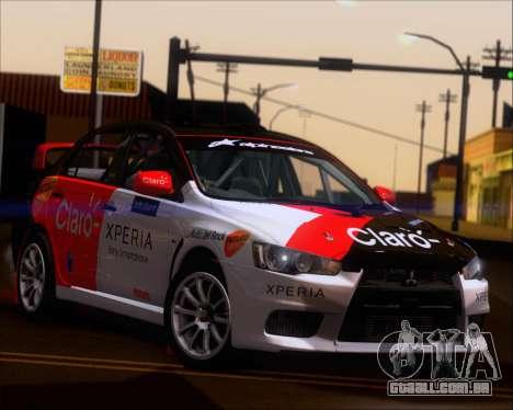 Mitsubushi Lancer Evolution Rally Team Claro para GTA San Andreas vista interior