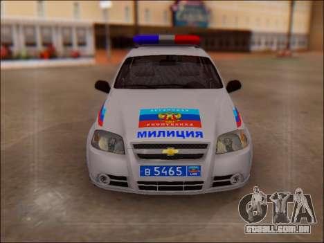Chevrolet Aveo Polícia LNR para GTA San Andreas vista traseira