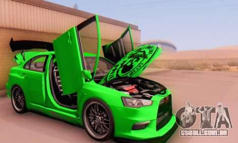 Mitsubishi Lancer Evolution X Metalhead para GTA San Andreas vista traseira