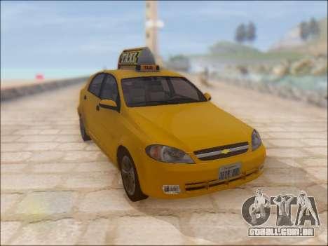 Chevrolet Lacetti Taxi para GTA San Andreas vista interior