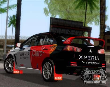 Mitsubushi Lancer Evolution Rally Team Claro para GTA San Andreas traseira esquerda vista