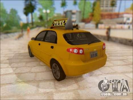 Chevrolet Lacetti Taxi para GTA San Andreas traseira esquerda vista