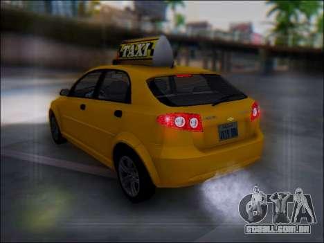 Chevrolet Lacetti Taxi para GTA San Andreas vista inferior