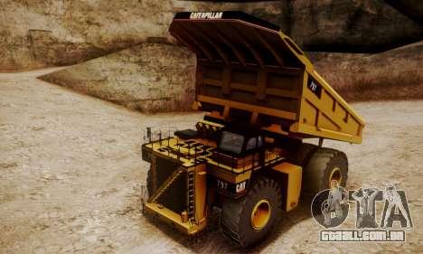 Caterpillar 797 para GTA San Andreas traseira esquerda vista