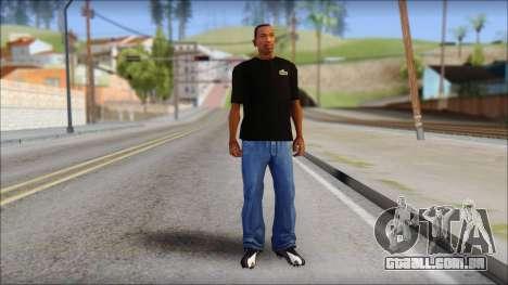 Black Izod Lacoste T-Shirt para GTA San Andreas terceira tela