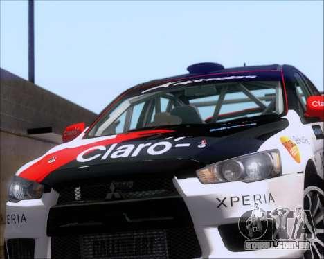 Mitsubushi Lancer Evolution Rally Team Claro para GTA San Andreas vista traseira